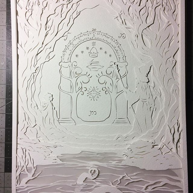 After a grueling 11 hour stream yesterday (yes, I'm crazy) I got all 9 layers cut and ready for installation and lights today! I can't wait to see how this comes together! #workinprogress #papercut #streamer #livestream #handcut #paperart #doorsofdurin #lotr #lordoftherings #fellowshipofthering #gandalf #frodo #minesofmoria