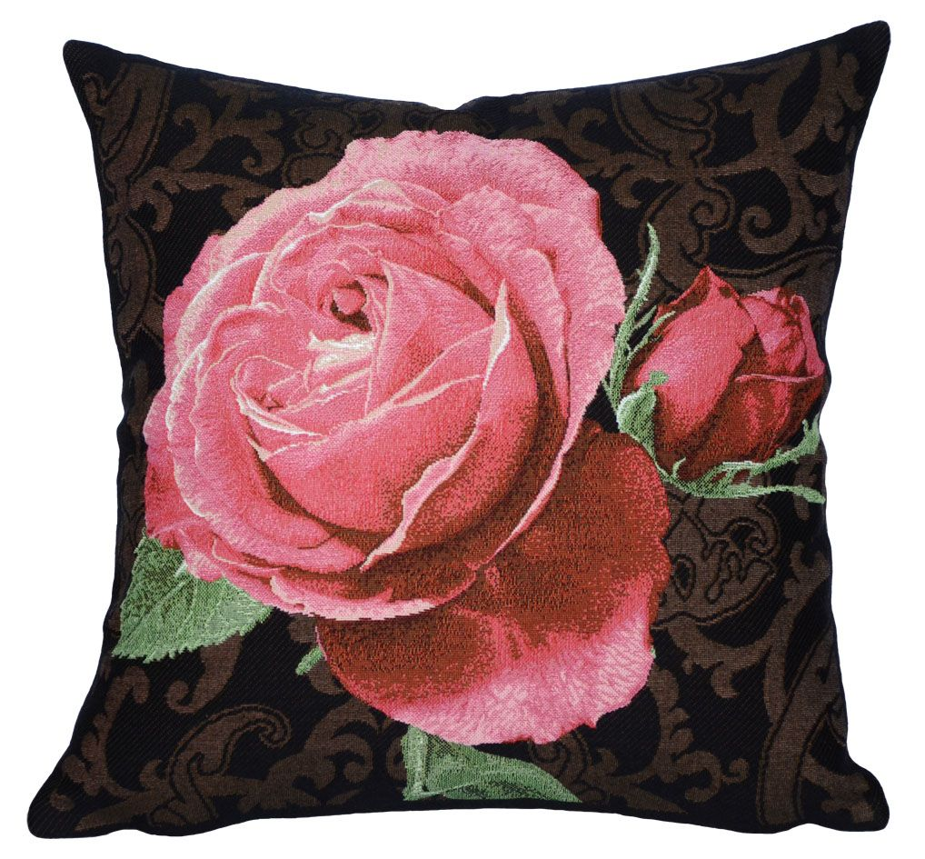 PINK FLOWER TAPESTRY DECORATIVE PILLOW ROSE DE VERSAILLES BLACK