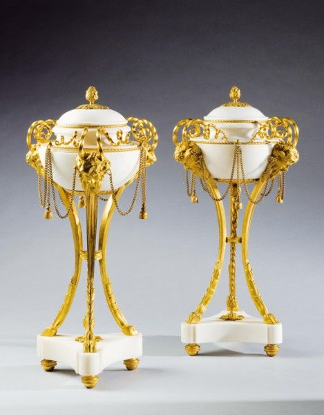"Louis XVI ormolu mounted white marble perfume burners Ca1790 France. 14.2""H x 7.1""D."