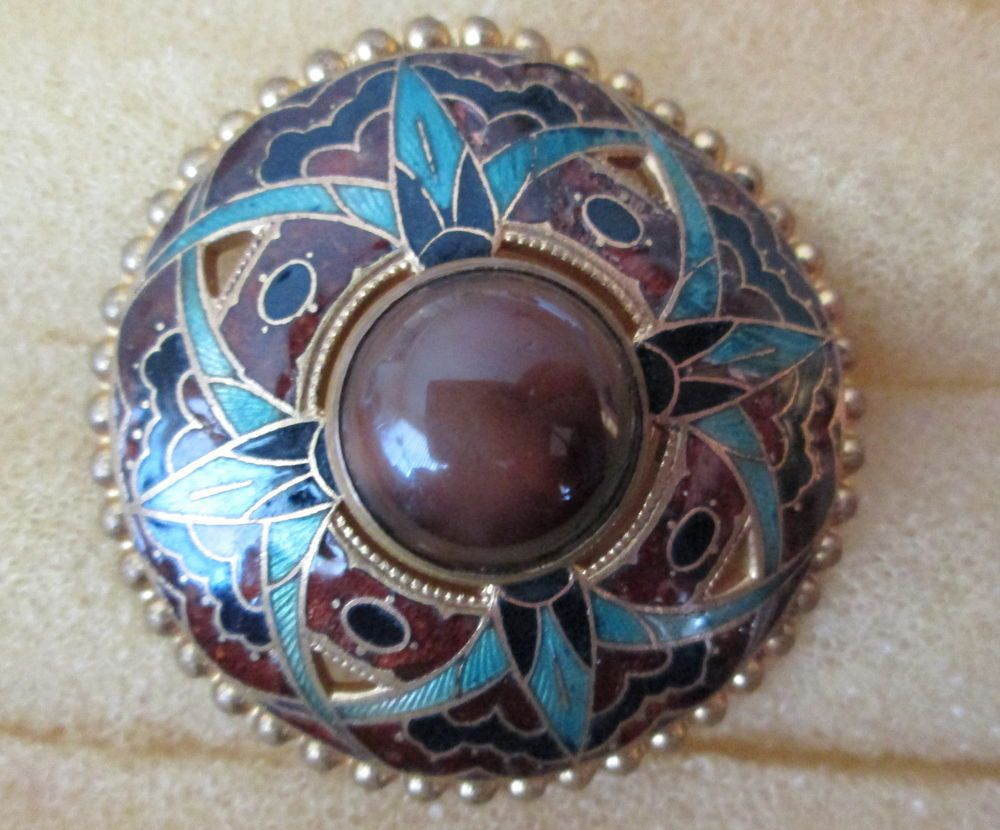Large Lovely Antique Enamel Design Over Brass, button, Center Domed Piece