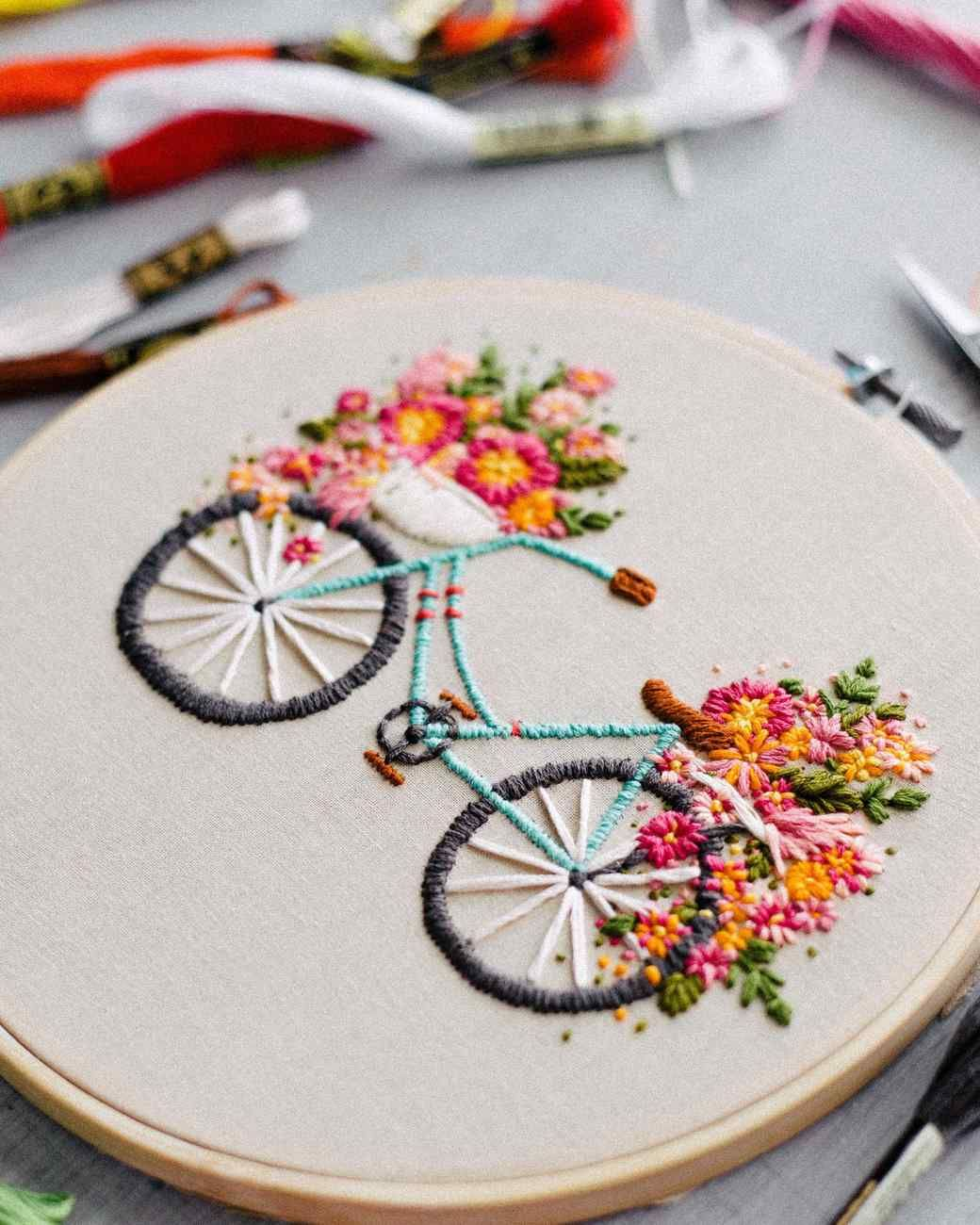 Embroidered Bicycle with Basket of Flowers