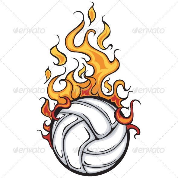 volleyball flaming ball - Sports Drawing Pictures