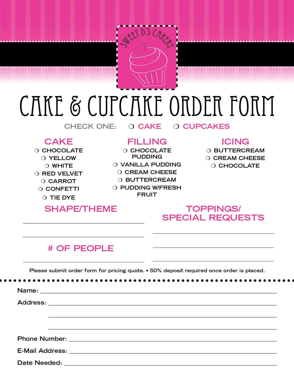Cake Order Contract  Cake Contract Order Form HttpWww