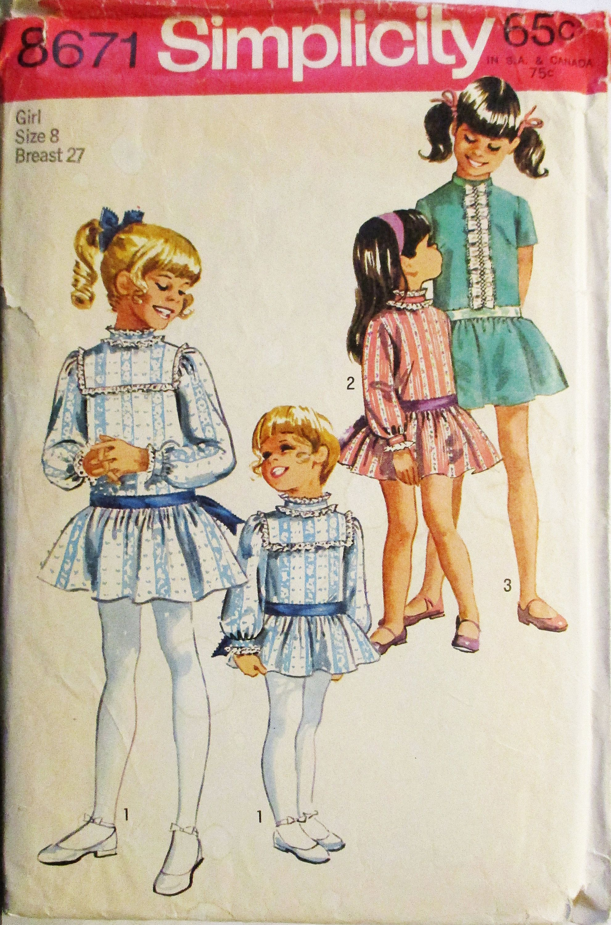 1960s Vintage Sewing Pattern Simplicity 8671 Girls Dress Pattern ...