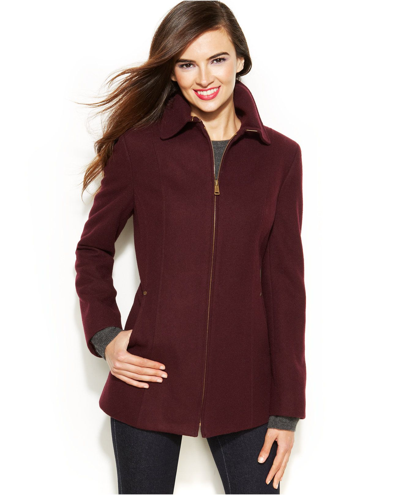 Nautica Zip-Front Wool-Blend Jacket - Coats - Women - Macy's ...