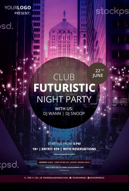 Club Futuristic Free PSD Flyer Template - http://freepsdflyer.com ...