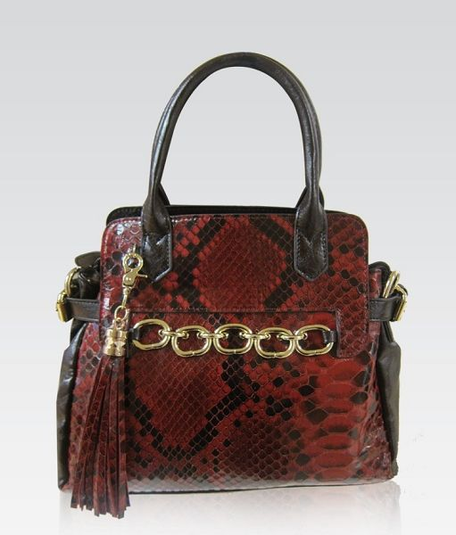 Galian Handbag Exotic Python Snakeskin Print With Chain Links And Fringe Red Tote Bag
