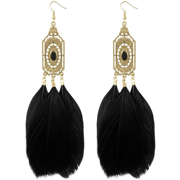 Miso Deco Feather Drop Earrings ❤ liked on Polyvore