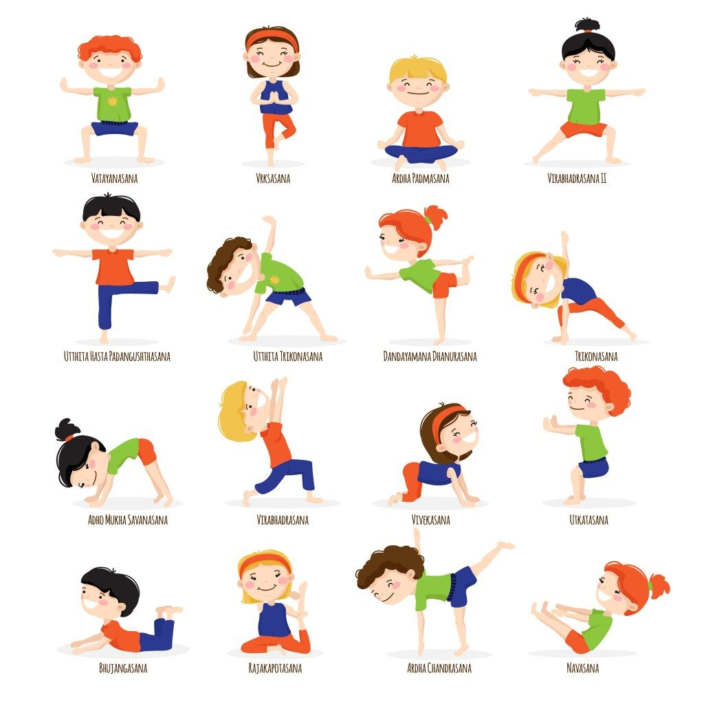 Kids Children Yoga Poses Cartoon Set Yoga Para Ninos Posturas De Yoga Para Ninos Chico Yoga