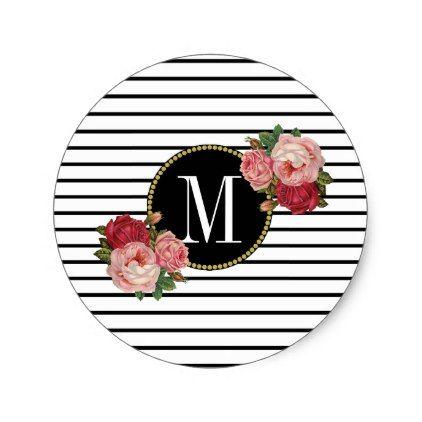 Cute black white striped modern floral monogram classic round sticker round stickers