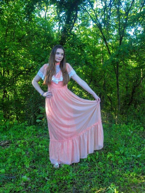 ecccb9b16e8 Peach Vintage Sleeveless Maxi Dress Lace Ruffles High Collar Prairie  Victorian