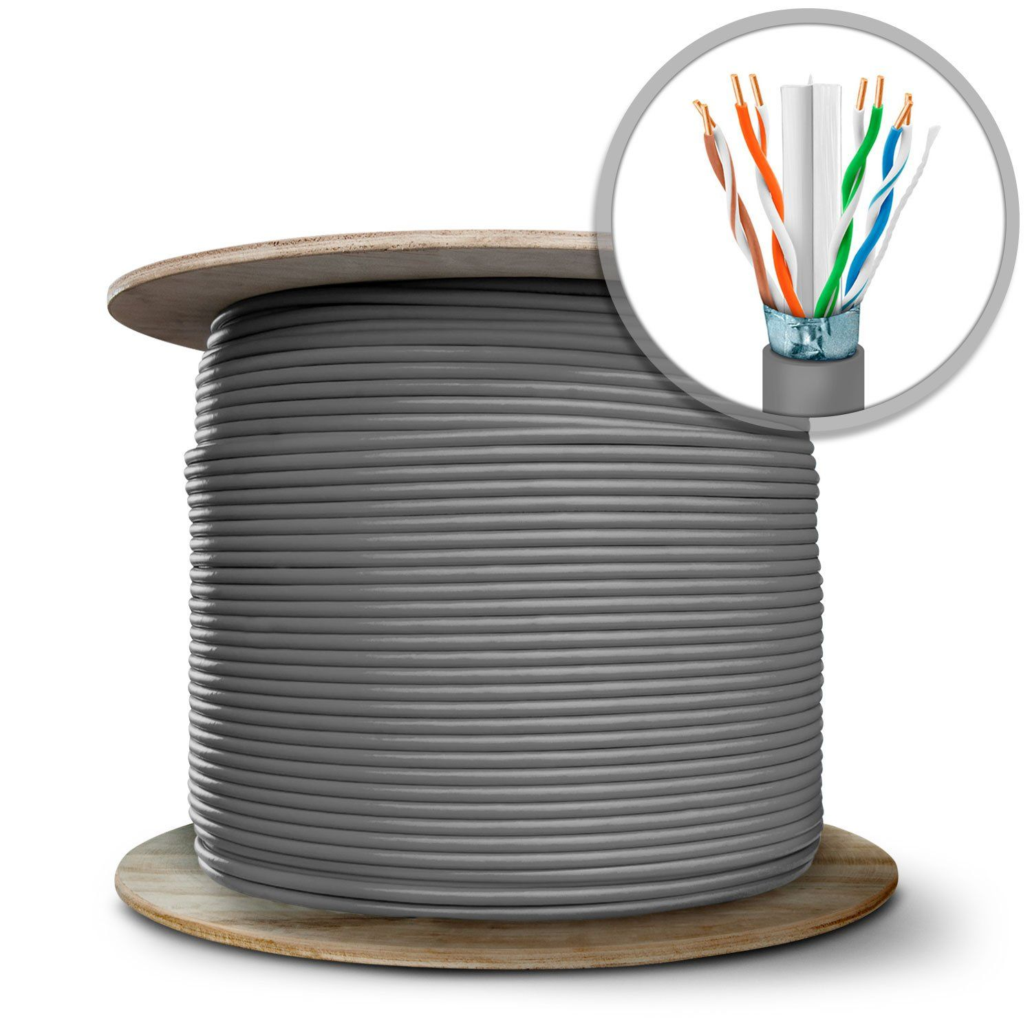GearIT 1000 Feet Bulk Cat6 STP Ethernet Cable - Solid Twisted Pair ...