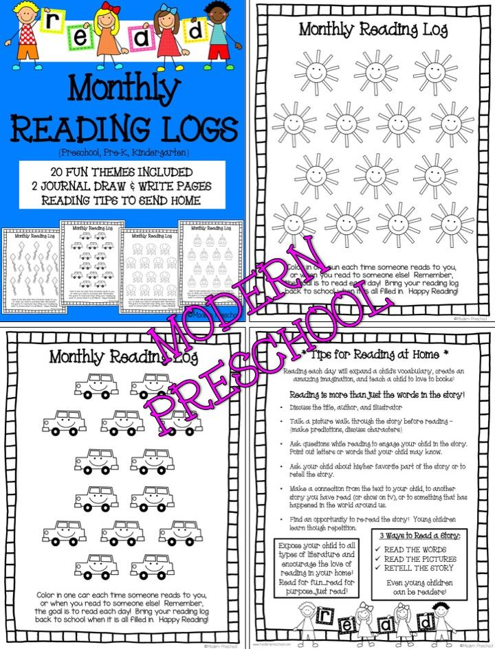 MONTHLY READING LOGS FOR HOME Parent Letter Journal Page