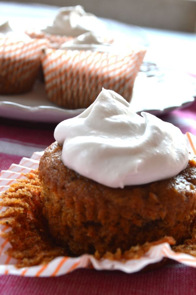 Carrot Cake Cupcake with Coconut Cream Frosting Gluten Free lactose free