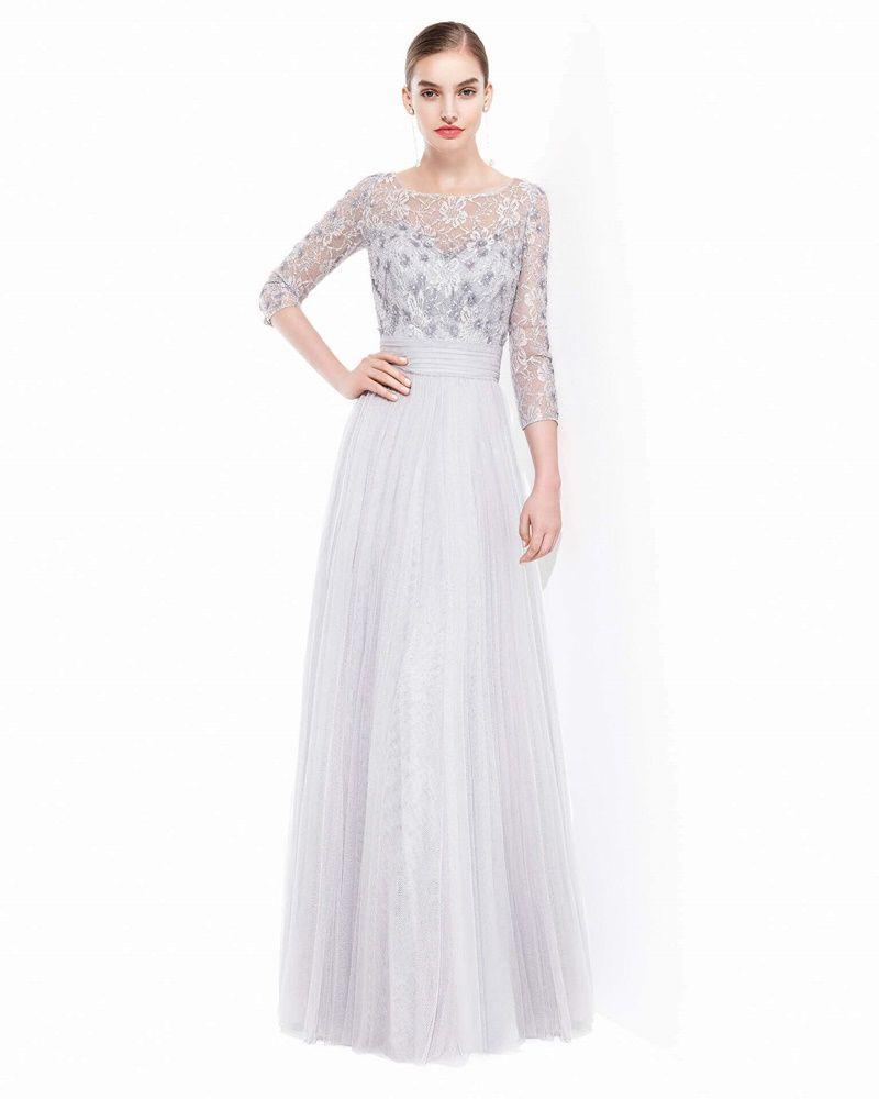 Rosa clara boat neck aline evening dress designer bridal room
