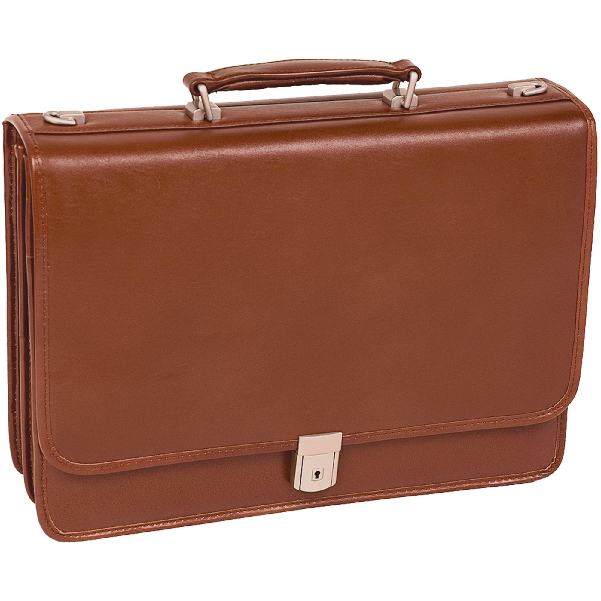 McKlein® Lexington 83544 black flapover double compartment briefcase, Brown