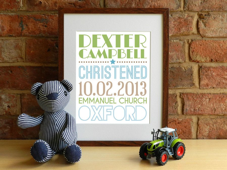 Boys Personalised Baptism / Christening Keepsake Print - Funky Typography - 8x10 inch - pinned by pin4etsy.com