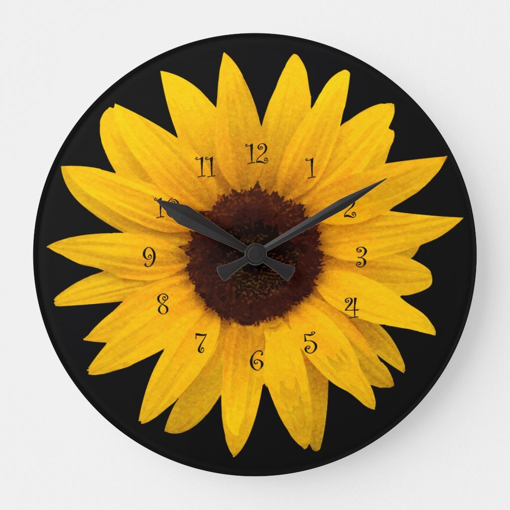 Arts Sunflower stylish Textur Large Clock | Zazzle.com