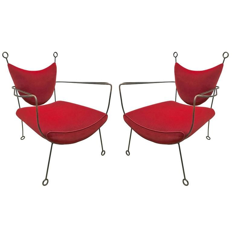 Jean Royere Documented Pair Of Black Wrought Iron Lounge Chairs