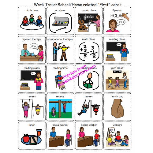 Canny image with picture cards for autism printable