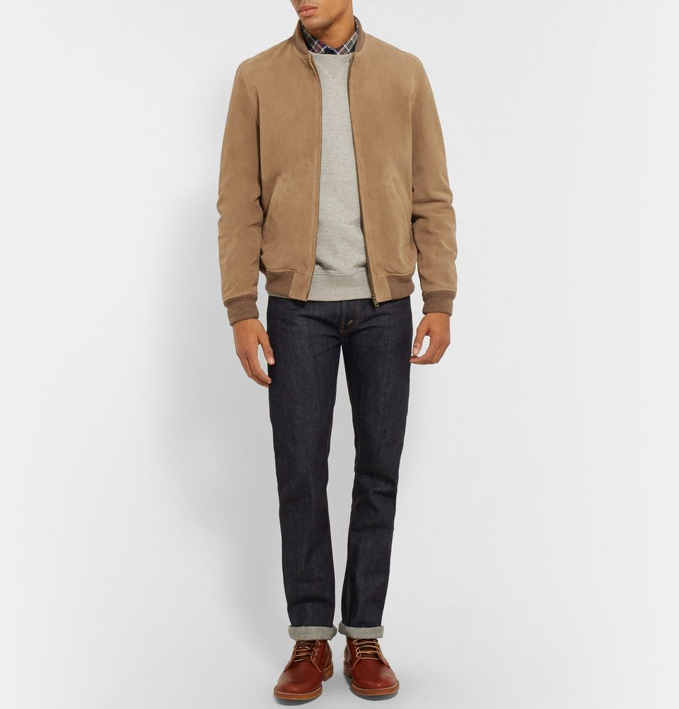 A P C Louis W Ferris Suede Bomber Jacket Mr Porter Suede Bomber Jacket Bomber Jacket Men S Coats And Jackets [ 1002 x 960 Pixel ]