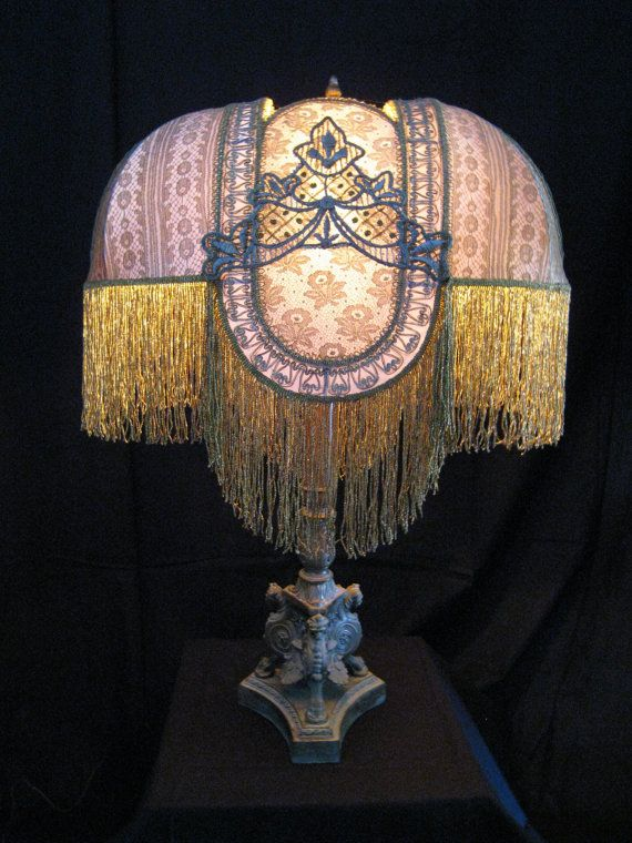 Antique Handmade Lampshade Silver And Gold Metallic By