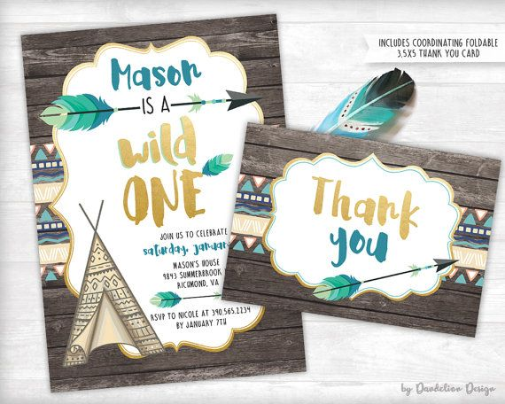 Wild One First Birthday Invitation plus Thank You Card 1st
