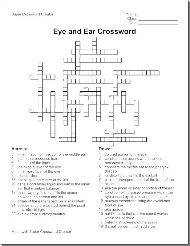 Gingerbread Man Crossword