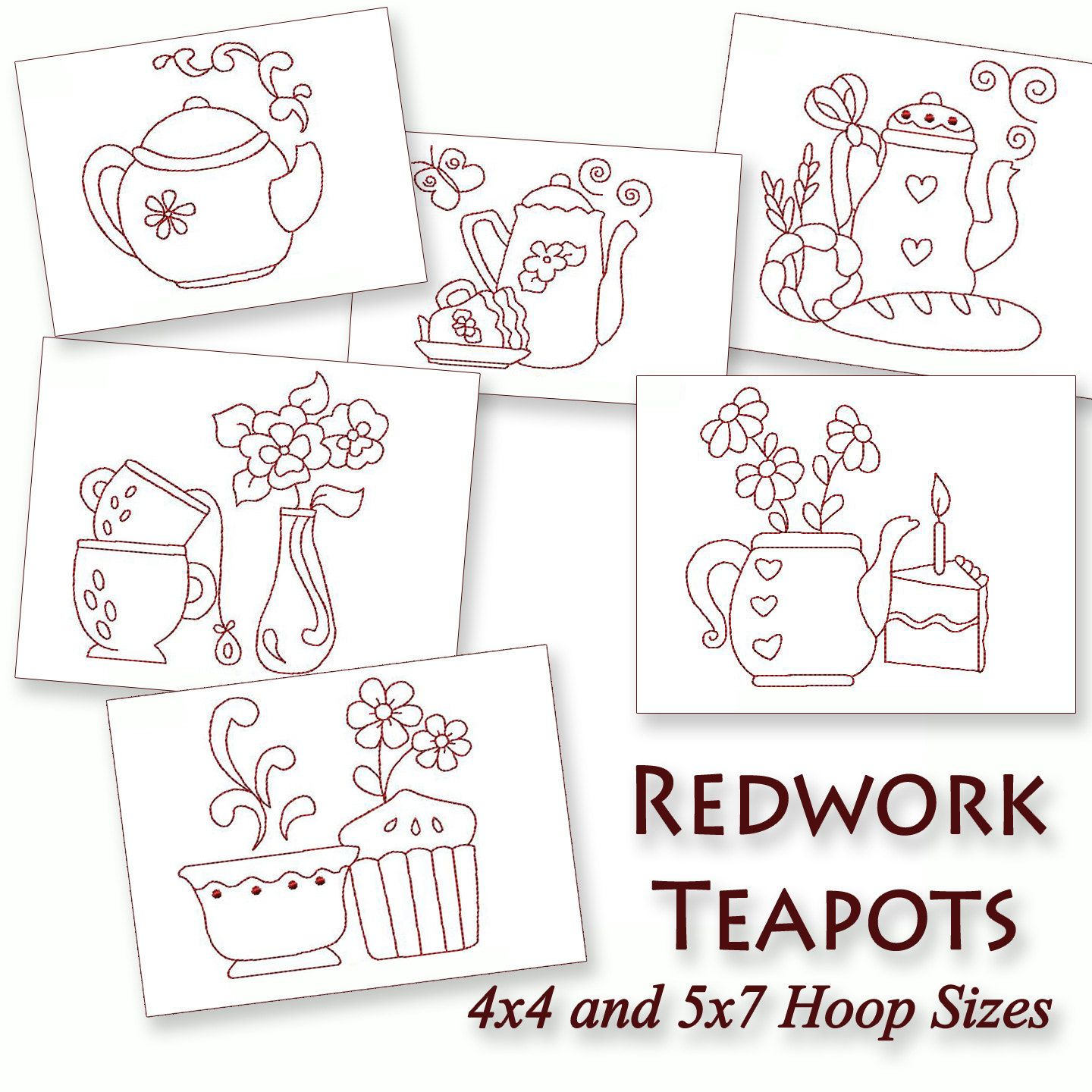 Kitchen Teapots Redwork Machine Embroidery Patterns / Designs   4x4 And 5x7  Hoop   6 Designs INSTANT DOWNLOAD