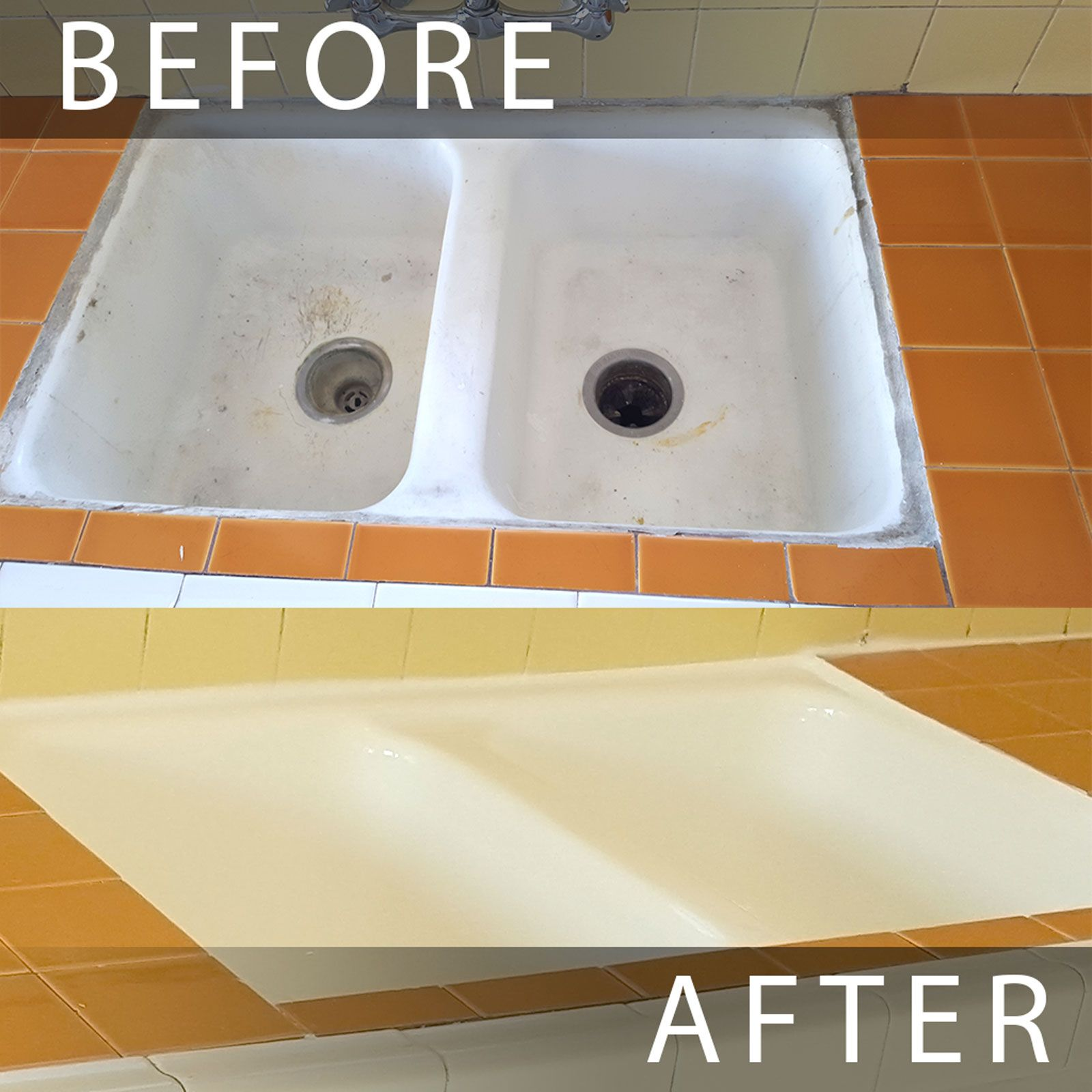 Kitchen sink reglazing Los Angeles. Before and after sink reglazed ...