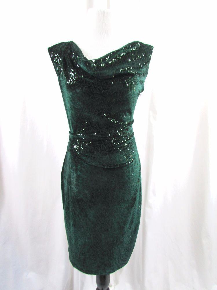 9984ecce Eliza J Green Sequin Velvet Draped Sheath Dress Size 10 Holidays #ElizaJ # SheathDress #PartyCocktail