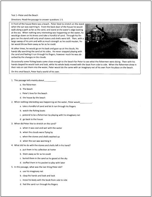 reading tests for students in grades through reading  a day at the beach essay 10 reading tests for students in grades 5 through 9