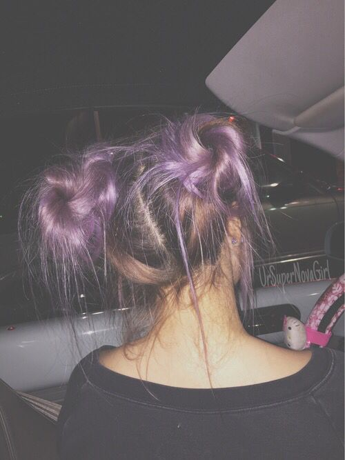 Grunge Space Buns Purple Hair Hair Styles Tumblr Hair Long Hair Styles