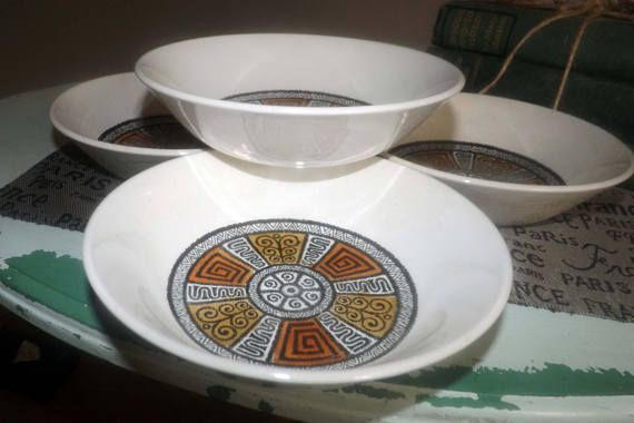 SET of 4 vintage c.1960s Biltons England Aztec pattern   Vintage ...