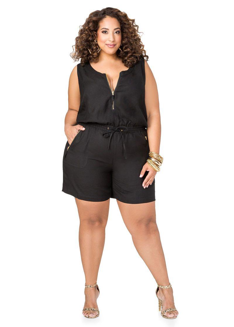 372928e3e5c Front Zip Linen Romper Stylish Plus Size Clothing