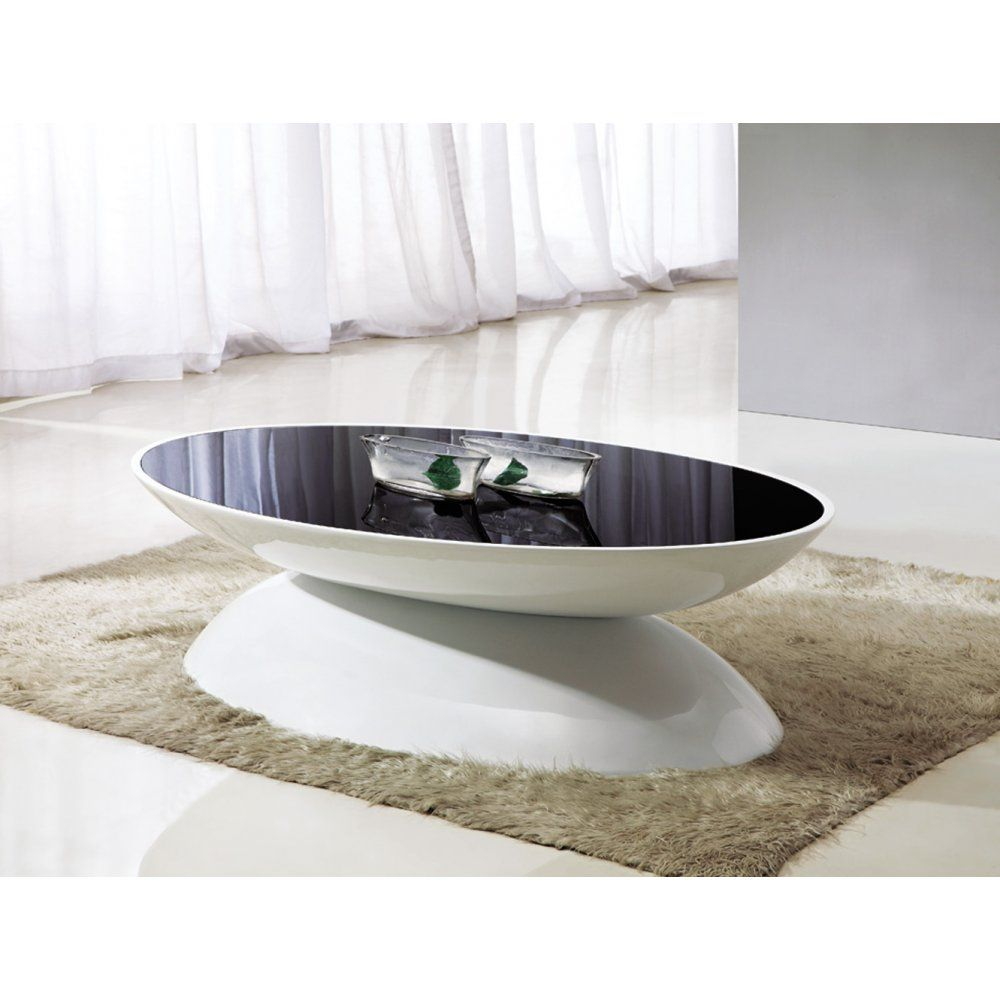 Giomani Designs Aura Black Glass And White Hi Gloss Coffee Table