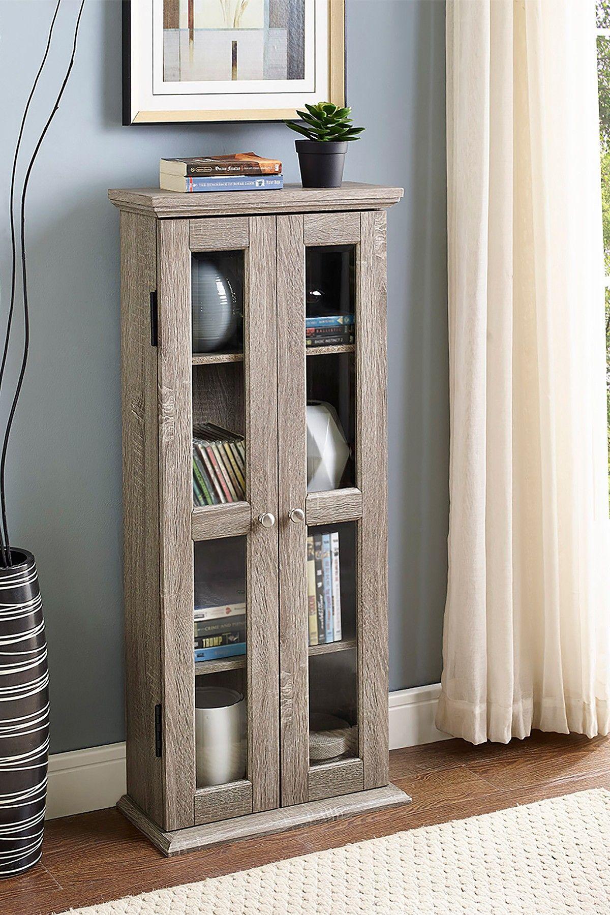 Driftwood Wood Media Storage Tower Cabinet by Walker Edison