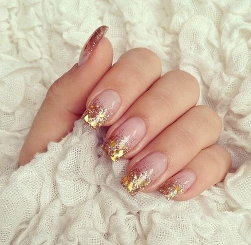 Gold Flake And Glitter Tipped Nail Art