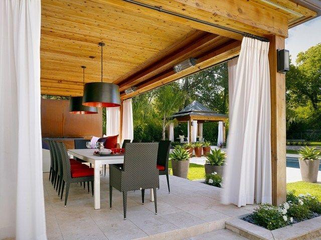 Vorhang als Windschutz für überdachte Terrasse-zur Einrichtung - 28 ideen fur terrassengestaltung dach