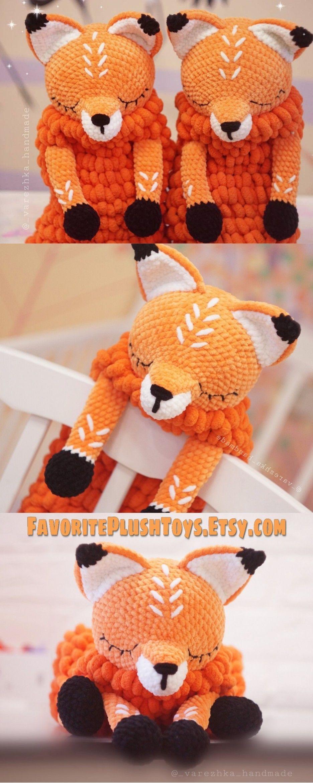 Crochet Fox PATTERN Amigurumi animals tutorial, BIG Softy toy Fox pattern Lovey Toy CROCHET