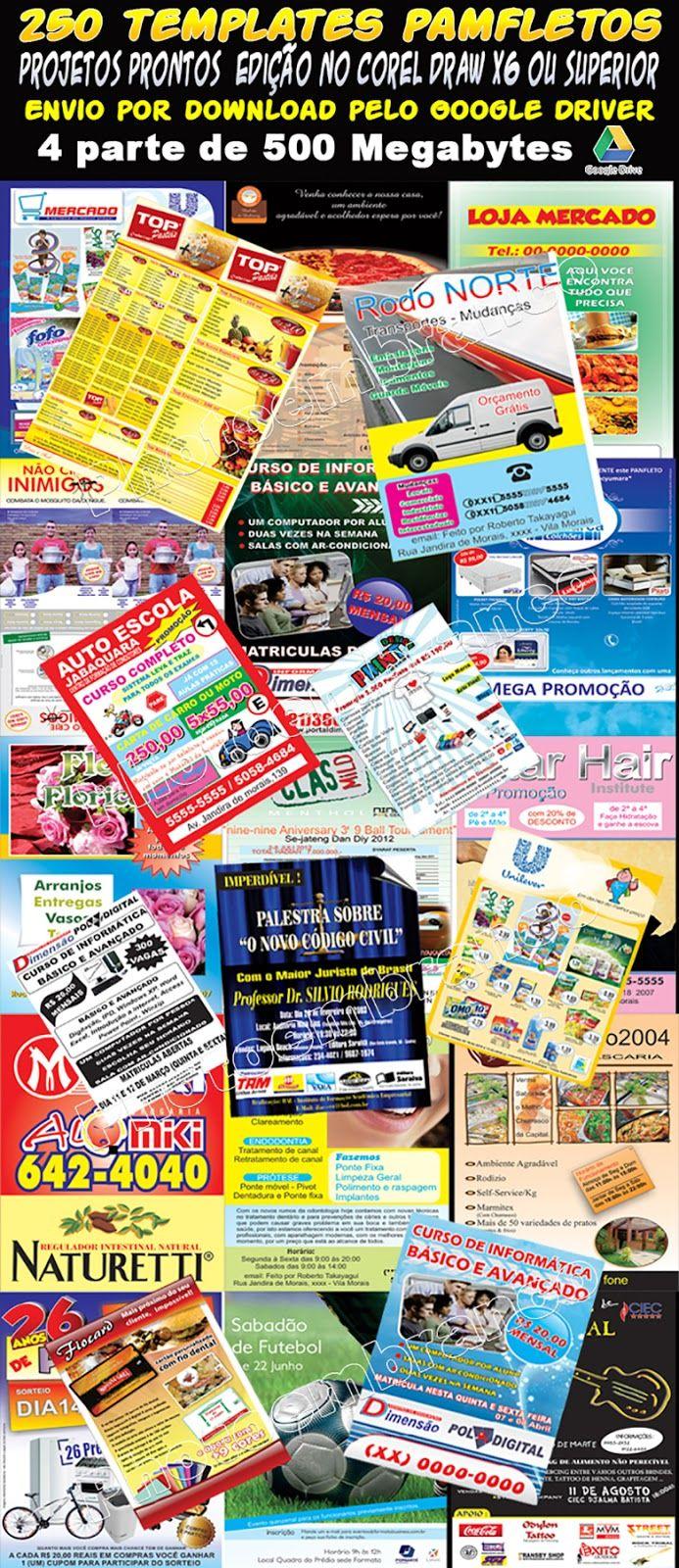 250 Panfleto Folheto Modelos Editaveis Corel Draw Impressao R