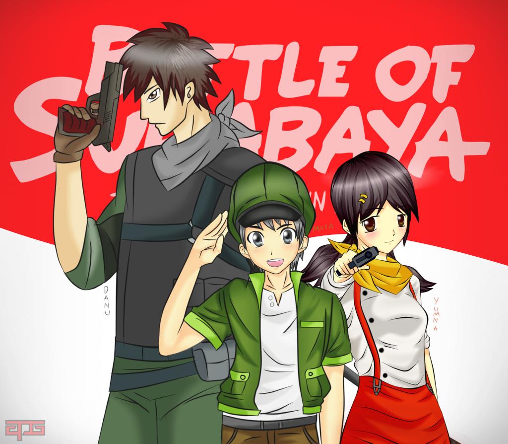 Danu, Musa, Yumna by APG Battle of Surabaya Fan Art Sketsa
