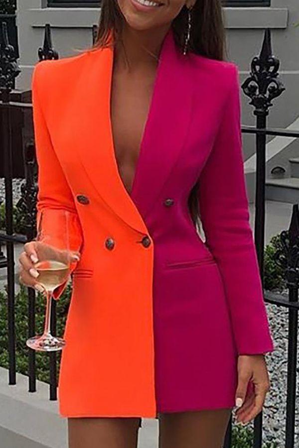 Cheap OL Dress Lovely Work Turn-back Collar Patchwork Orange Mini Dres