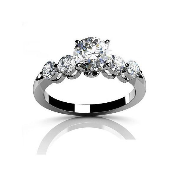 6.5mm Round Cut D/VVS1 Diamond 14k Solid White Gold Engagement Ring #Jpjewels8 #SolitairewithAccents