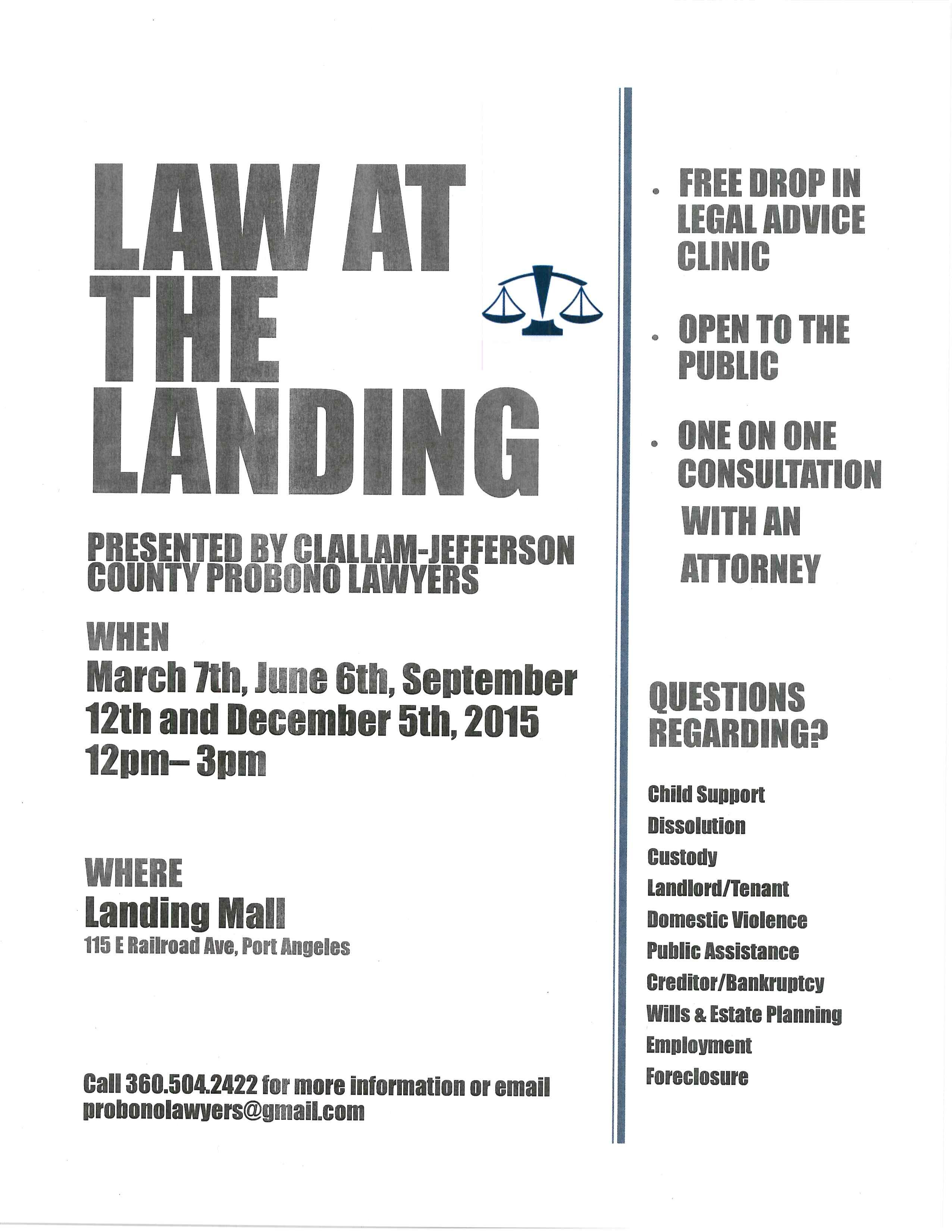 FREE drop in legal advice clinic, open to public with one