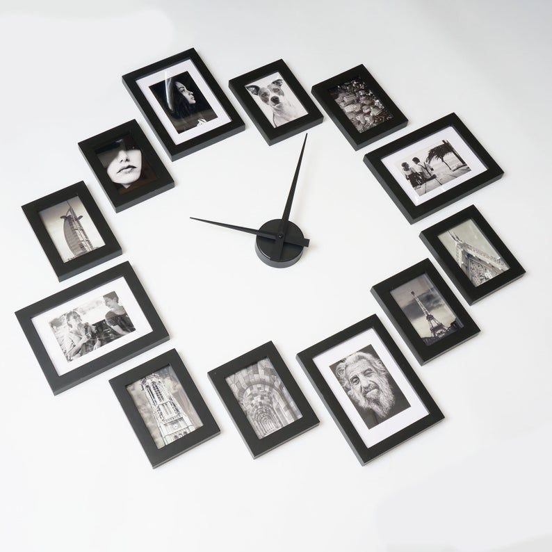 Photo Picture Frame Wall Clock Modern 12 Black Etsy Frames On Wall Wall Clock With Pictures Picture Frame Wall