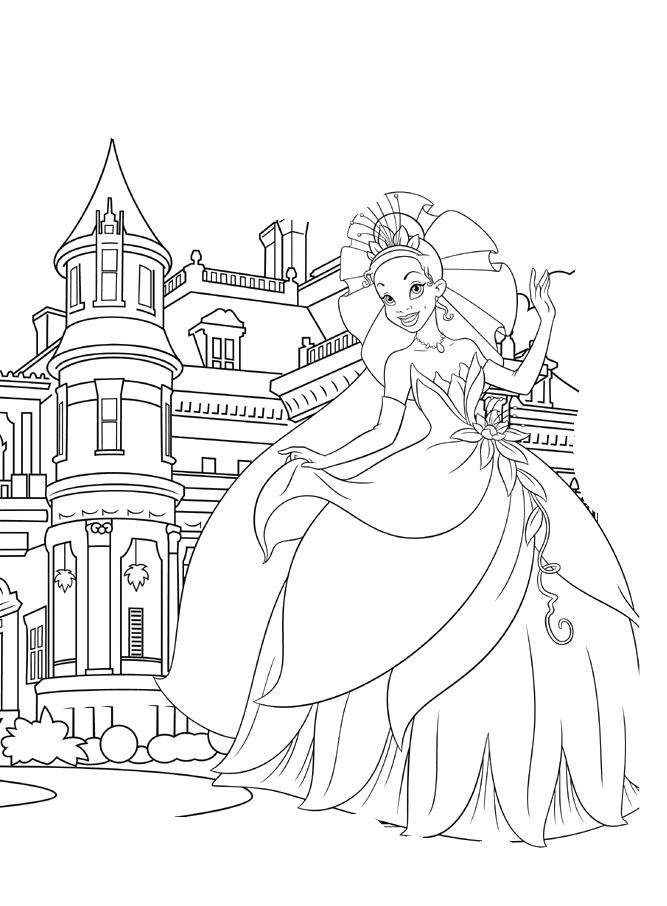 Princess Tiana Is Showing A Nice Castle Coloring Pages With