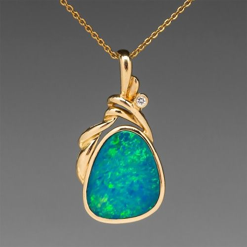 Estate Natural Boulder Opal Diamond Pendant 14k Gold Opal Pendants Boulder Opal Pendant Opal Jewelry