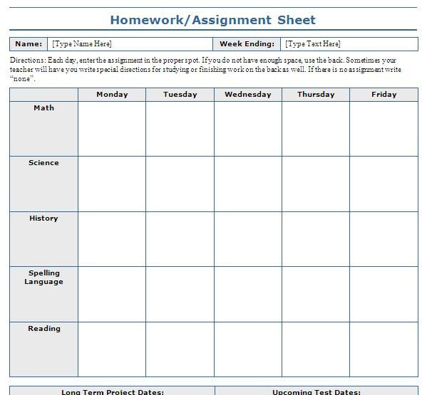 Weekly Assignment Sheet Template from i.pinimg.com
