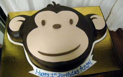 Monkey Face Cake TAC3 Birthday Maura winter party Pinterest